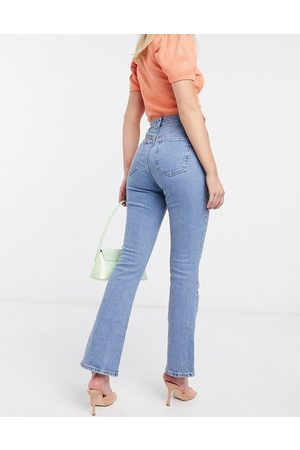ASOS High rise '70s' stretch flare jeans in bright -Blue