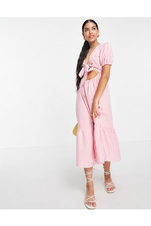 Influence Tie-front midi dress in pink gingham
