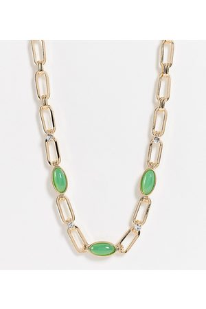 Reclaimed Men Necklaces - Inspired statement chain necklace with green agate stones in
