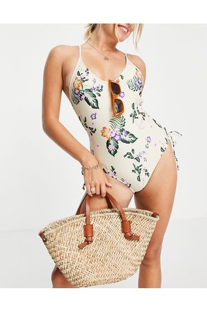 Vero Moda Ruched side swimsuit in -Multi