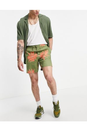 Only & Sons Men Shorts - Co-ord drawstring shorts in green flower print