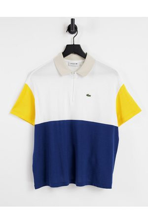 Lacoste Colour-block polo shirt in pink-Multi