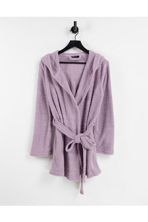 ASOS Women Bathrobes - Fluffy hooded mini robe in -Purple