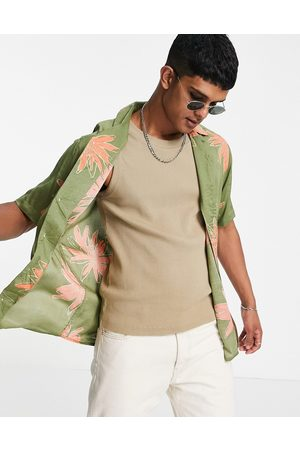 Only & Sons Men Casual - Co-ord revere collar shirt in green flower print