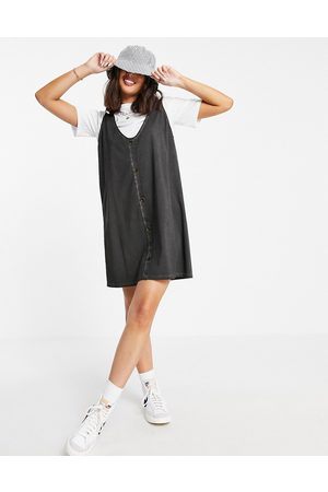 ASOS DESIGN 2-in-1 t-shirt mini dress with horn buttons in