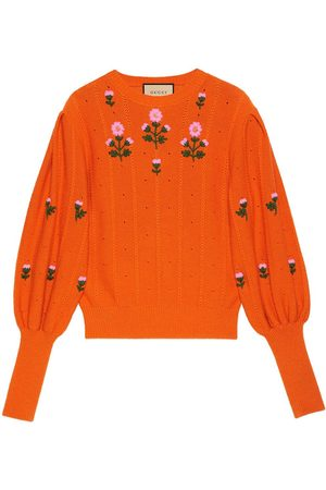 Gucci Women Sweaters - Floral-embroidered knitted top