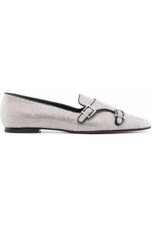 santoni Sequin-embellished buckle -detail loafers
