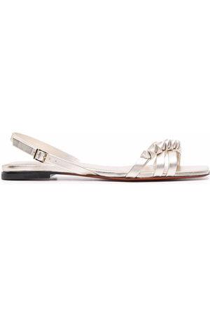 santoni Ruched-detailing leather sandals