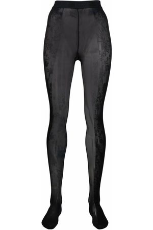 Wolford X Amina Muaddi floral lace tights