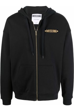 Moschino Men Hoodies - Logo-lettering zipped hoodie