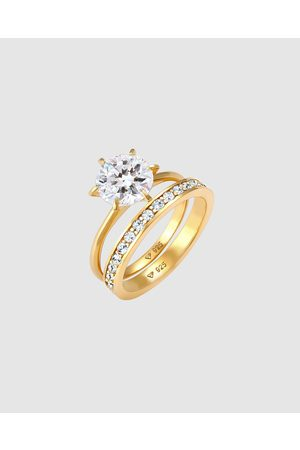 Elli Jewelry Ring Eternity Set with Crystals in 925 Sterling Silver Gold Plated - Jewellery Ring Eternity Set with Crystals in 925 Sterling Silver Gold Plated