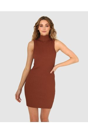 Madison The Label Tessa Knit Dress - Bodycon Dresses (Chocolate) Tessa Knit Dress