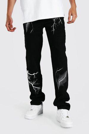 Boohoo Mens True Tall Relaxed Fit Lightning Print Jean