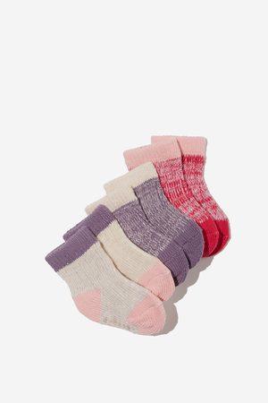 Cotton On Kids Baby Socks - 3Pk Baby Socks - Fuchsia dusk purple marle rib
