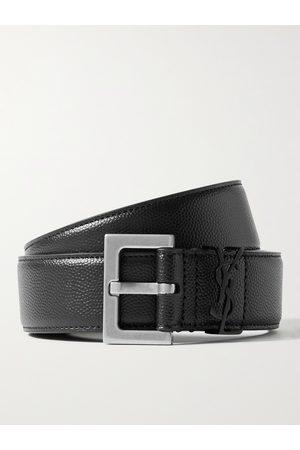 SAINT LAURENT 3cm Pebble-Grain Leather Belt
