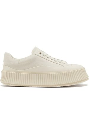 Jil Sander Women Sneakers - Ribbed-sole Canvas Trainers - Womens