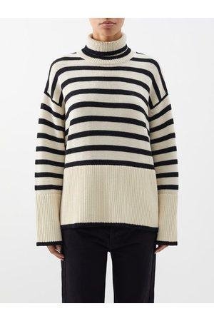 Totême Roll-neck Striped Wool-blend Sweater - Womens - Stripe
