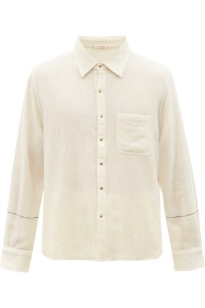 PÉRO Embroidered Brushed Wool-twill Shirt - Mens - Cream