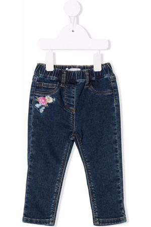 Monnalisa Floral-embroidered jeans
