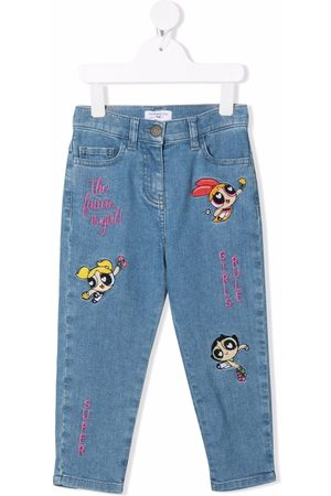 Monnalisa Power-puff-girl embroidered jeans