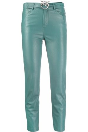 Pinko Women Leather Pants - Leather-effect belted cropped trousers