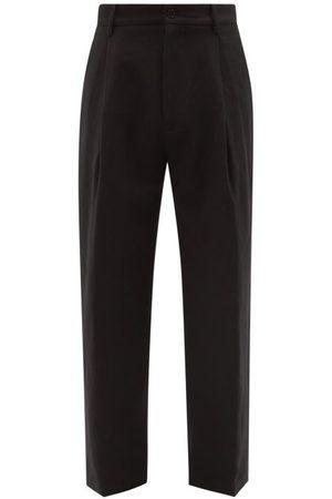 Raey Men Wide Leg Pants - Wide-leg Linen And Wool-blend Pleated Trouser - Mens