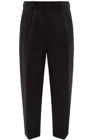 Raey Wide Peg-leg Wool And Linen Blend Trousers - Mens