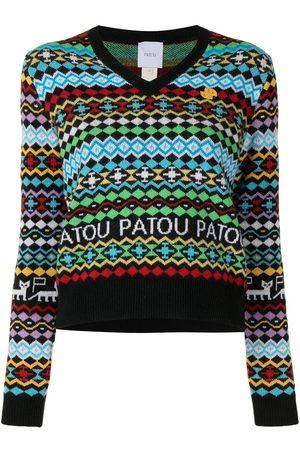 Patou Women Sweaters - Geometric-pattern V-neck jumper