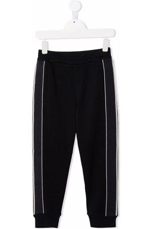 Emporio Armani Side-tripe cotton-blend track trousers