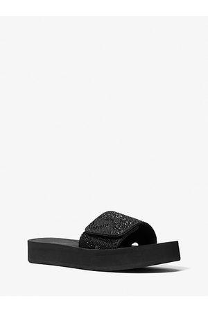 Michael Kors MK Logo Embellished Platform Slide Sandal - - Michael Kors