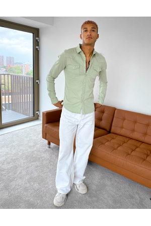 ASOS Skinny fit western denim shirt in