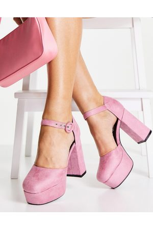 Lamoda Platform heeled shoes with ankle strap in pale pink