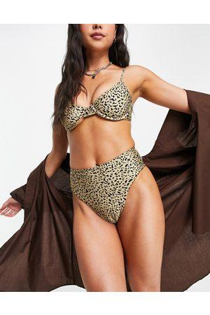 Volcom Ur An Animal high waist bikini bottoms in animal print
