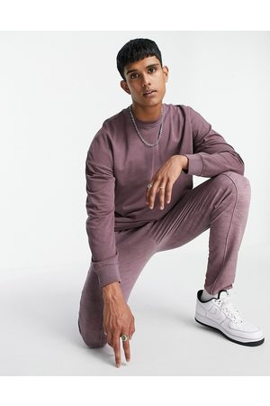 Only & Sons Tracksuit with crew neck sweatshirt in washed purple