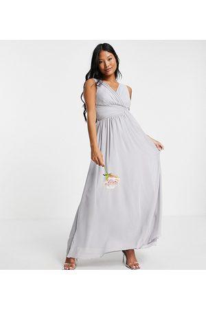 Little Mistress Petite Bridesmaid v-neck maxi dress in