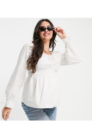 Pieces Maternity Women Blouses - Peplum smock blouse in