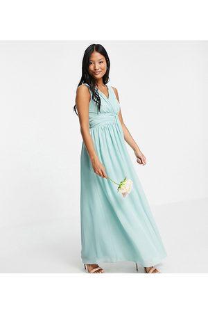 Little Mistress Bridesmaid v-neck maxi dress in green
