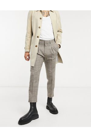 ASOS Tapered cropped smart pants in check with double pleat-Neutral