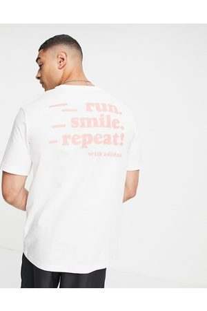 adidas performance Men Sports T-shirts - Adidas Running t-shirt with run smile repeat back print in