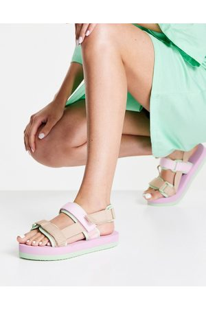 Vero Moda Colour-block strappy flatforms in pastel