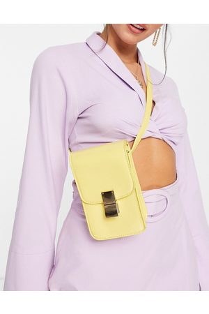 Truffle Collection Rectangle cross-body bag with metal clasp in yellow-Brown
