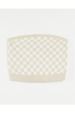 Other Stories & co-ord knitted check print bandeau top in -Neutral