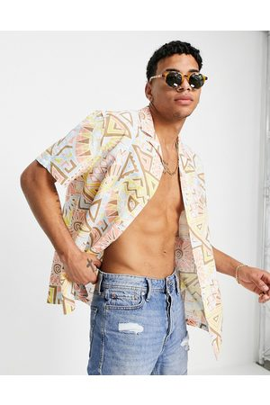 ASOS Relaxed revere shirt in linen mix with aztec pastel pattern