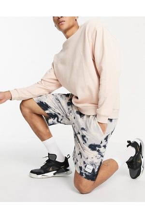Mennace Men Neckties - Co-ord jersey shorts in and navy tie dye-Neutral