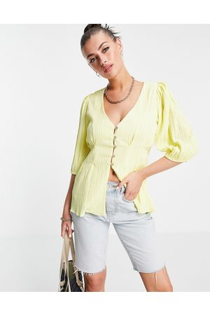 Fashion Union Women Blouses - Smock top with frill sleeves in brown ditsy-Yellow
