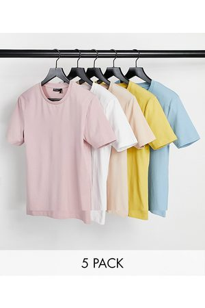 ASOS DESIGN 5 pack organic muscle fit t-shirt with crew neck
