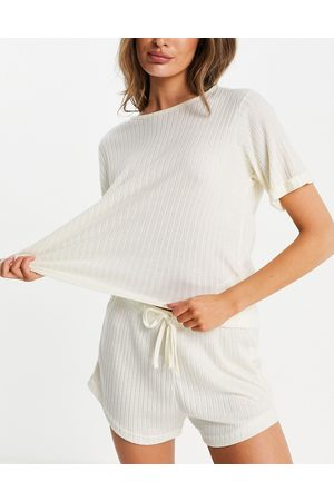 Missguided Loungewear ribbed oversized t-shirt and shorts set in -White