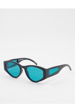 Spitfire Cobain2 unisex round sunglasses in with turquoise lens and arm detail