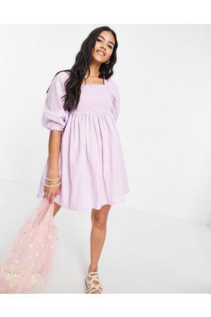 Influence Mini balloon sleeve beach dress in -Purple