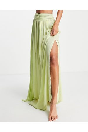 ASOS Women Maxi Skirts - Maxi beach sarong co-ord in soft chartreuse-Yellow